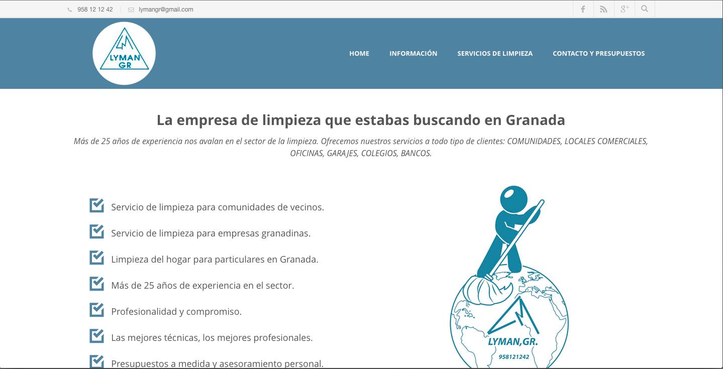 posicionamiento web y diseño web limpiezas lyman granada