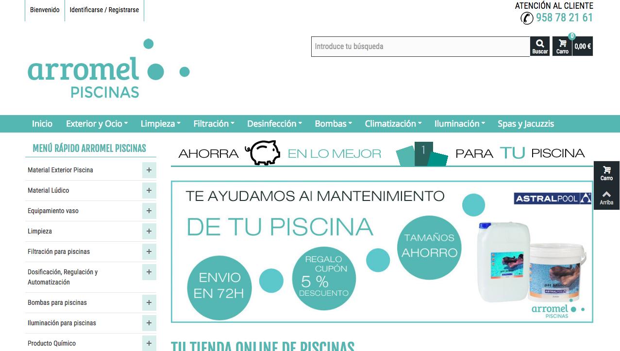 creación y posicionamiento de tienda online Arromel Piscinas