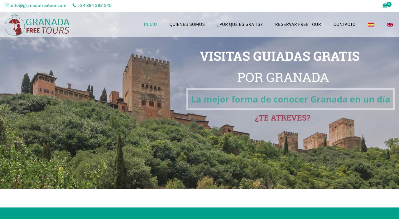 diseño web y seo para la empresa Granada Free Tour